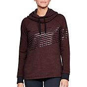 Under Armour Women's Threadborne Fleece Metallic Stripe Funnel Neck Hoodie