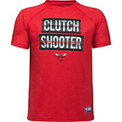 """Under Armour Youth Chicago Bulls """"Clutch Shooter"""" Red Tech Performance T-Shirt"""