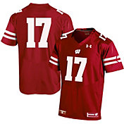 Under Armour Youth Wisconsin Badgers Red #17 Replica Football Jersey