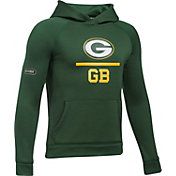 Under Armour NFL Combine Authentic Youth Green Bay Packers Lockup Armour Fleece Green Hoodie