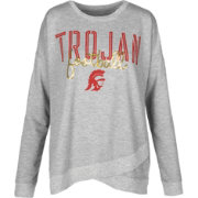 USC Authentic Apparel Women's USC Trojans Grey Helen Football Long Sleeve Shirt