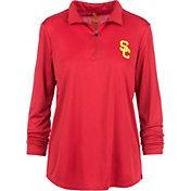 USC Authentic Apparel Women's USC Trojans Cardinal Rockland Quarter-Zip Shirt