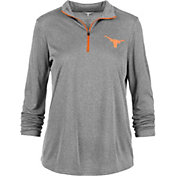 University of Texas Authentic Apparel Women's Texas Longhorns Grey Rockland Quarter-Zip Shirt