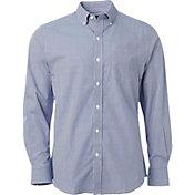 Walter Hagen Men's Mini Gingham Long Sleeve Dress Golf Shirt