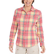 Woolrich Women's Tall Pine Convertible Seersucker Button Down Long Sleeve Shirt