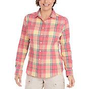 Woolrich Women's Tall Pine Convertible Seersucker Button Down Long Sleeve Shirt