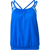 Aqua Tech Women's Solid Blouson Tankini Top