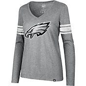 '47 Women's Philadelphia Eagles Knockaround Stripe Grey Long Sleeve Shirt