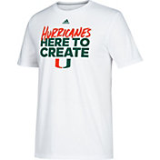 adidas Men's Miami Hurricanes 'Here to Create' Bench Go-To Performance White T-Shirt