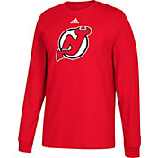 adidas Men's New Jersey Devils Big Logo Red Long Sleeve Shirt