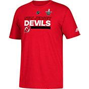 adidas Men's 2018 Stanley Cup Playoffs New Jersey Devils Locker Room Red T-Shirt