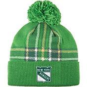 adidas Men's 2018 St. Patrick's Day New York Rangers Green Pom Knit Beanie