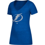 adidas Women's Tampa Bay Lightning Logo Tri-Blend Royal Heathered V-Neck T-Shirt