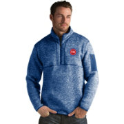 Antigua Men's Detroit Pistons Fortune Royal Half-Zip Pullover