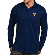 Antigua Men's West Virginia Mountaineers Blue Exceed Long Sleeve Polo