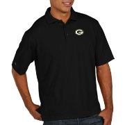 Antigua Men's Green Bay Packers Pique Xtra-Lite Performance Black Polo