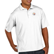 Antigua Men's Pittsburgh Steelers Pique Xtra-Lite Performance White Polo