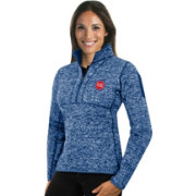 Antigua Women's Detroit Pistons Fortune Royal Half-Zip Pullover