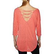 Betsey Johnson Women's Acid Wash Criss-Cross ¾ Sleeve T-Shirt