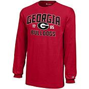 Champion Youth Georgia Bulldogs Red Long Sleeve Jersey T-Shirt