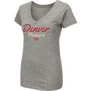 Colosseum Women's Denver Pioneers Grey Dual Blend V-Neck T-Shirt
