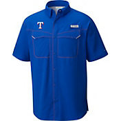 Columbia Men's Texas Rangers Low Drag Offshore Performance Short Sleeve Shirt