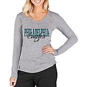 Concepts Sport Women's Philadelphia Eagles Script Long Sleeve Grey Shirt