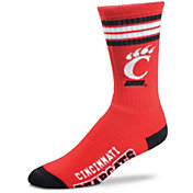 For Bare Feet Cincinnati Bearcats 4-Stripe Deuce Crew Socks