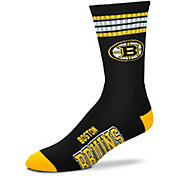 For Bare Feet Boston Bruins 4-Stripe Deuce Crew Socks