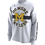 Jordan Men's Michigan Wolverines 'Do More Say Less' Bench Legend White Long Sleeve T-Shirt