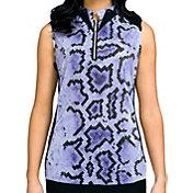 Jamie Sadock Women's Sleeveless Snake Print ¼ Zip Golf Top