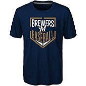 Majestic Boys' Milwaukee Brewers Dri-Tek Run Scored T-Shirt