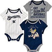 Majestic Infant Milwaukee Brewers 3-Piece Onesie Set
