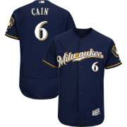 Majestic Men's Authentic Milwaukee Brewers Lorenzo Cain #6 Flex Base Alternate Road Navy On-Field Jersey