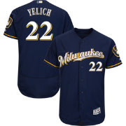 Majestic Men's Authentic Milwaukee Brewers Christian Yelich #22 Flex Base Alternate Road Navy On-Field Jersey