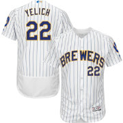 Majestic Men's Authentic Milwaukee Brewers Christian Yelich #22 Flex Base Alternate White On-Field Jersey