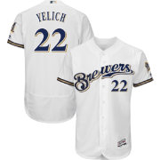 Majestic Men's Authentic Milwaukee Brewers Christian Yelich #22 Flex Base Home White On-Field Jersey