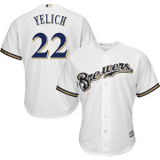 Majestic Men's Replica Milwaukee Brewers Christian Yelich #22 Cool Base Home White Jersey