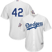 Majestic Men's Replica Los Angeles Dodgers #42 Cool Base Home White Jersey w/ Jackie Robinson Day Patch
