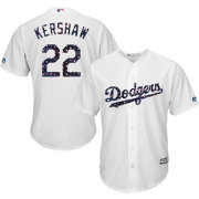 Majestic Men's Replica Los Angeles Dodgers Clayton Kershaw #22 Cool Base Home White 2018 4th of July Jersey