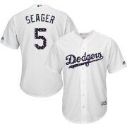 Majestic Men's Replica Los Angeles Dodgers Corey Seager #5 Cool Base Home White 2018 4th of July Jersey