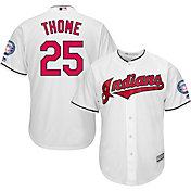 Majestic Men's Replica Cleveland Indians Jim Thome #25 Cool Base Home White Jersey w/ 2018 HOF Patch