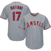 Majestic Men's Replica Los Angeles Angels Shohei Ohtani #17 Cool Base Road Grey Jersey