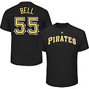 Majestic Men's Pittsburgh Pirates Josh Bell #55 Black T-Shirt