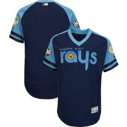 Majestic Men's Authentic Tampa Bay Rays Flex Base Alternate Navy On-Field Jersey w/ 20th Anniversary Patch