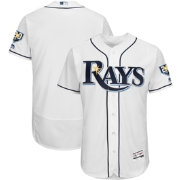Majestic Men's Authentic Tampa Bay Rays Flex Base Home White On-Field Jersey w/ 20th Anniversary Patch