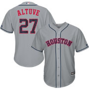 Majestic Men's Replica Houston Astros Jose Altuve #27 Cool Base Road Grey 2018 4th of July Jersey