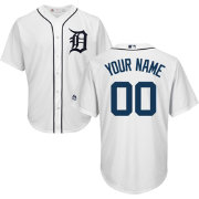 Majestic Men's Custom Cool Base Replica Detroit Tigers Home White Jersey