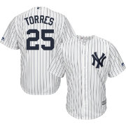 Majestic Men's Replica New York Yankees Gleyber Torres #25 Cool Base Home White Jersey