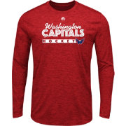 Majestic Men's Washington Capitals Crash The Net Red Heathered Long Sleeve Shirt